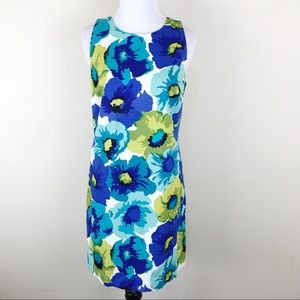 Loft Blue Green Floral Sheath Dress Size 4